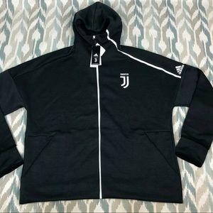 Adidas Mens ZNE Soccer Juventus Juve Zip Up Hoodie